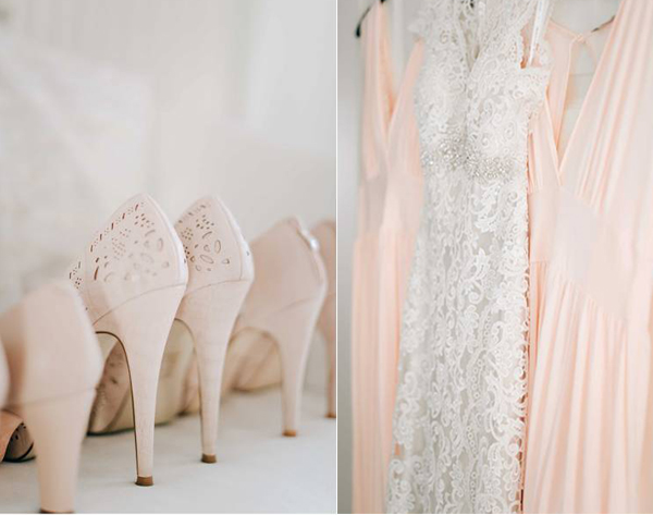 neutral peach dresses and shoes for weddings