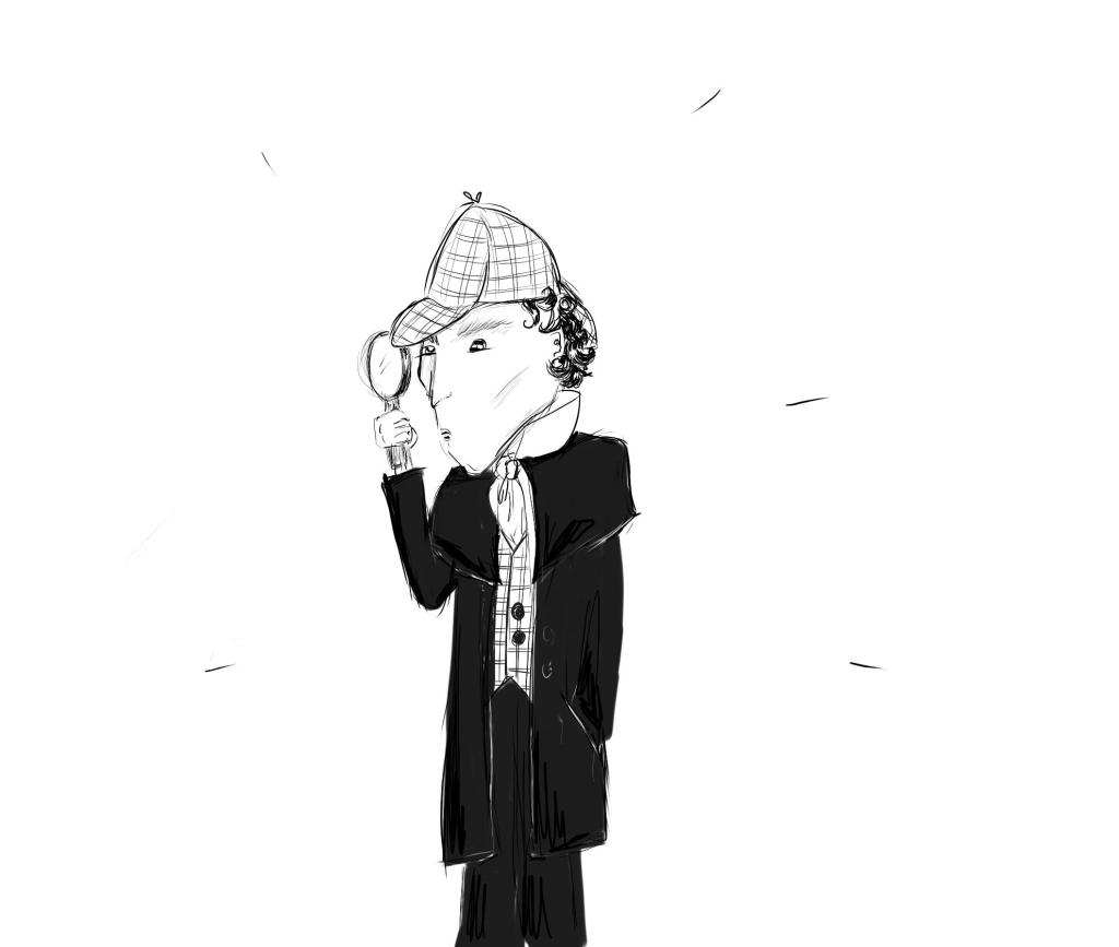 Sherlock with magnifying glass