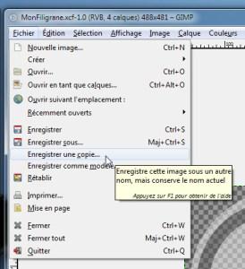 """Utiliser le menu """"enregistrer une copie"""" pour enregistrer l'image en tant que brosse"""