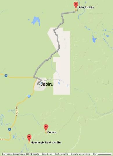 L'itinéraire Ubirr-Jabiru-Nourlangie Rock