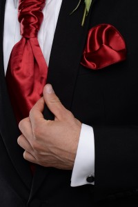 Regal Red Cravat and Handkerchief with the James Morning Suit