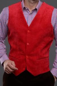 Bradley Needle Corduroy Waistcoat in Crimson