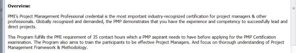 PMP Training Provider Case - 3