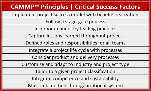 CAMMP Principles, Critical Success Factors