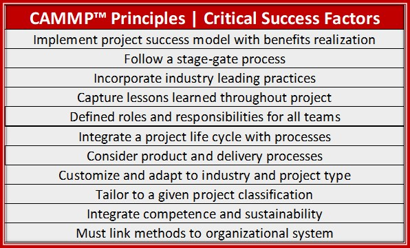 CAMMP Principles, Critical Success Factors