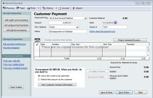 receiving customer prepayments