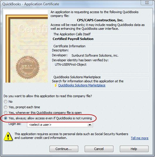 QuickBooks Application Certificate window