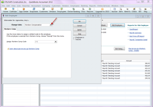 QuickBooks 2012 employee record - workers compensation - workers comp