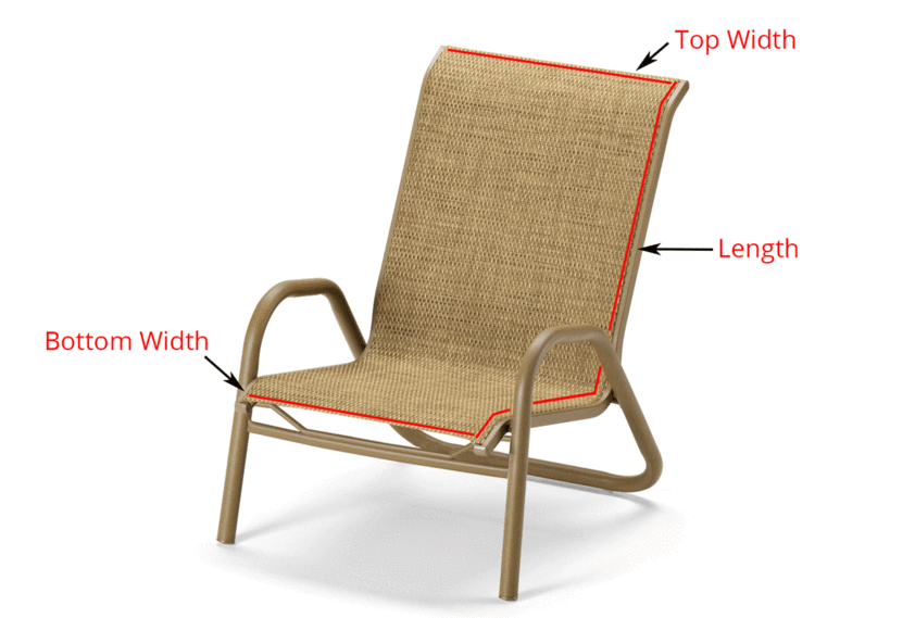 recover sling patio chairs chair noise reduction read this before you buy replacement slings for your furniture diagram showing where to measure 1 piece