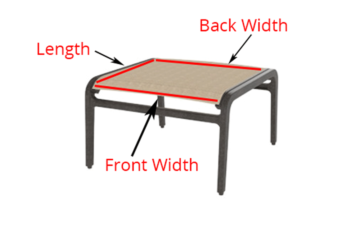 recover sling patio chairs childrens desk and chair set read this before you buy replacement slings for your furniture diagram showing where to measure ottoman stool