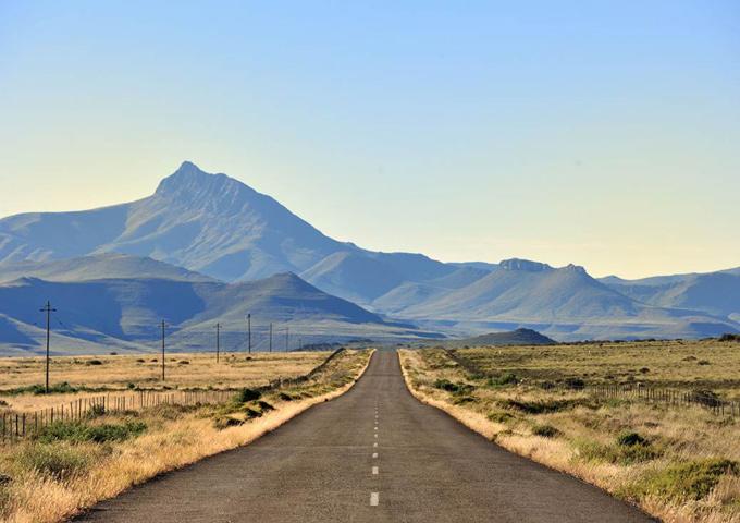 road trip zuid-afrika namibie weg savanne