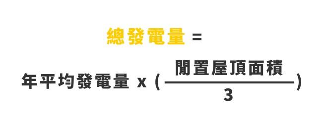 總發電量=年平均發電量*(閒置屋頂面積/3)