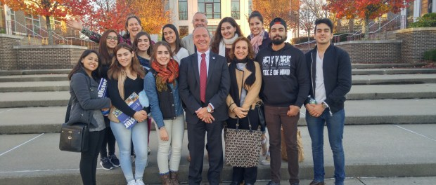 SUNY Ulster President, Alan Roberts with visiting students from Fatec Americana in Mexico.
