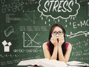 Woman looking anxious with the word stress above her head