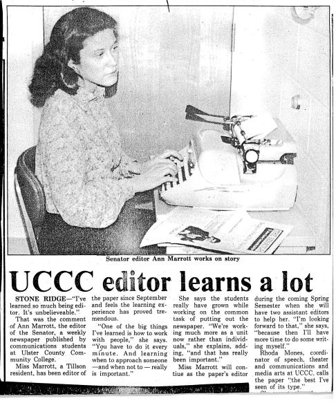 SUNY Ulster Vice-President Ann Marrott in Early 1980s