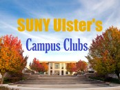 front of library in fall with SUNY Ulster's campus clubs written in sky