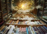 Three walls of books are shown leading up to a bright invisible sky, the book shelves are slightly covered by clouds and books protruding from the sky. It gives the viewer a feeling of standing in a library nook and looking up to see the heavens.
