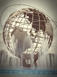 Photo of a globe and fountain