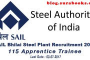 SAIL Bhilai Recruitment 2017 115 Apprentice Trainee Posts