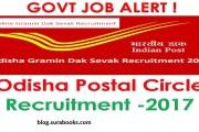 Odisha Postal Circle Recruitment  144 MTS Job Posts 2017
