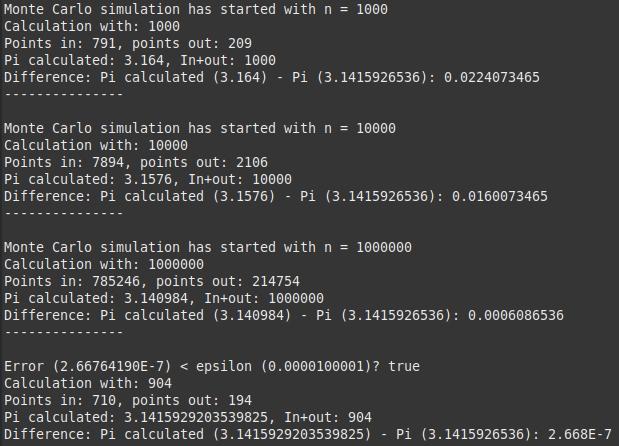 Monte Carlo simulation for PI