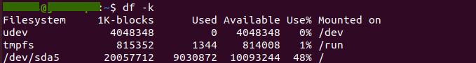 Ubuntu: Check disk size