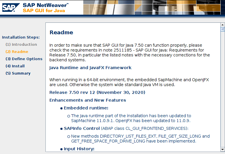 SAP GUI for Java: Installation
