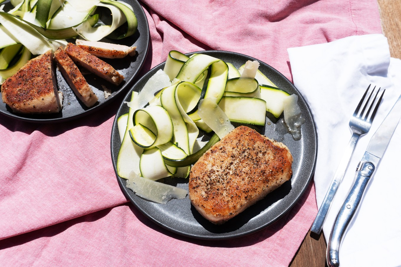 Black Pepper Pork Chops with Zucchini Salad
