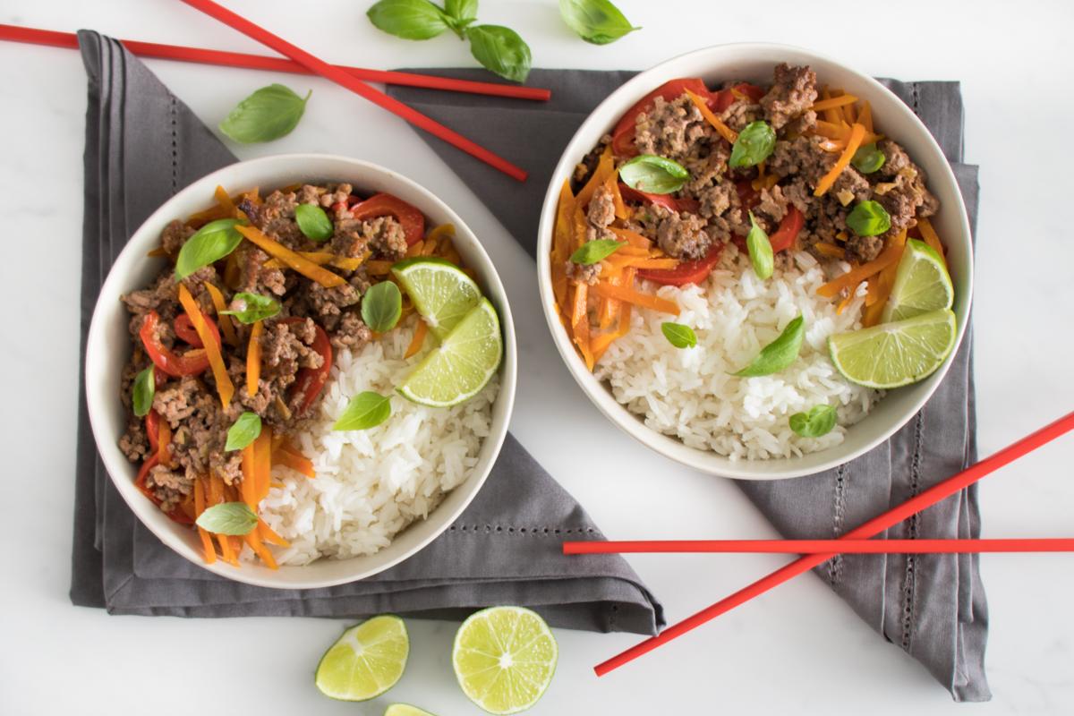Thai Basil Beef with Jasmine Rice