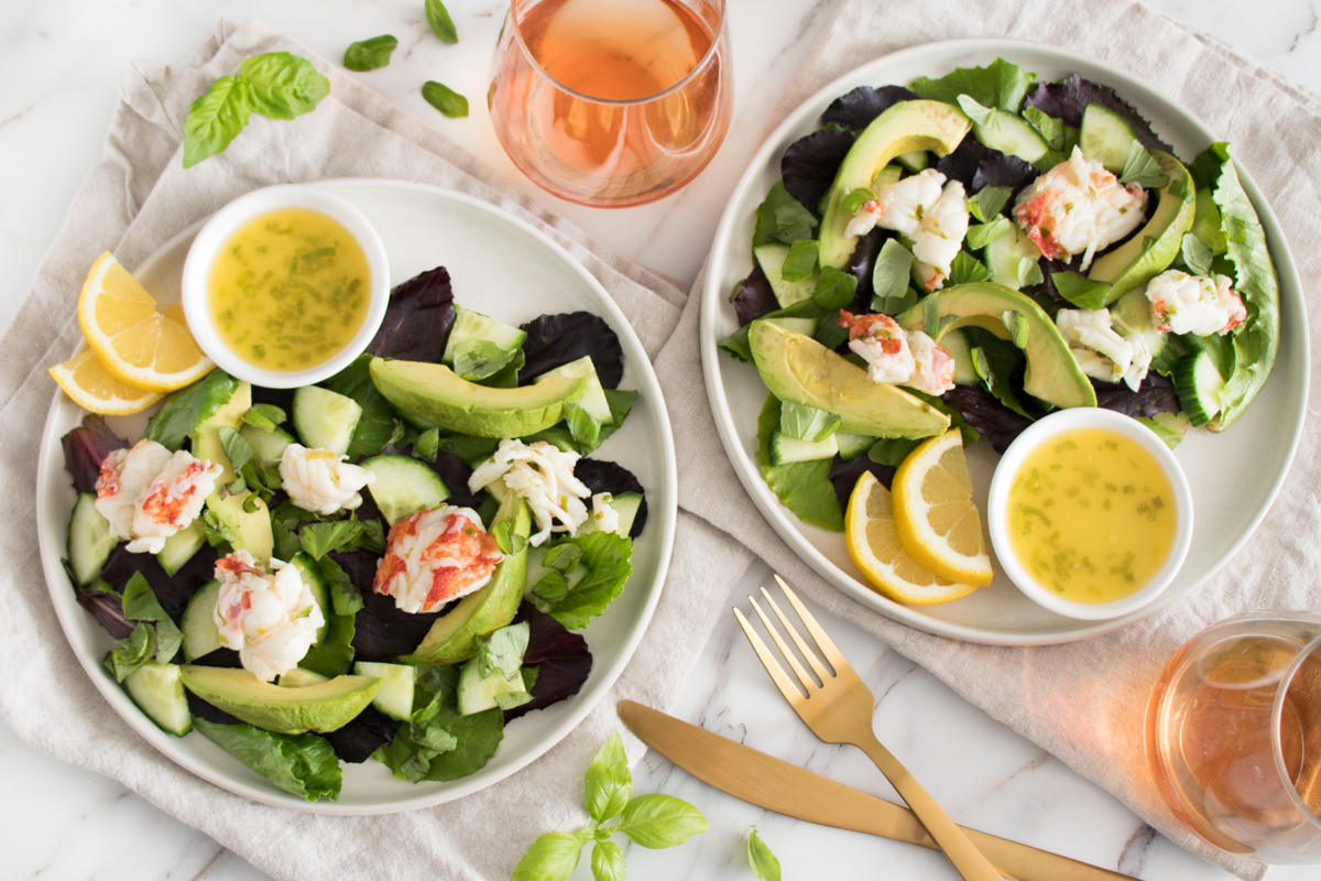 Rosé Butter Lobster with Cucumber Avocado Salad