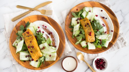 Sumac and Turmeric Sous Vide Salmon with Creamy Whipped Feta