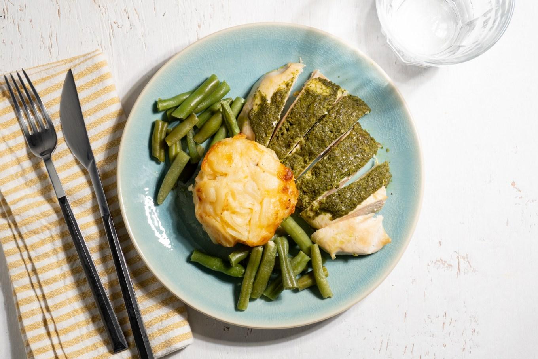Pesto Chicken with Potato au Gratin