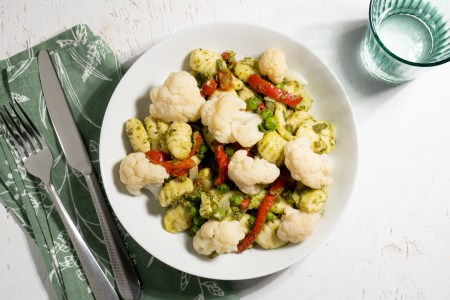 Pesto Gnocchi with Sweet Red Peppers and Onions