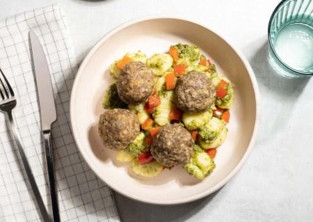 meatballs with pesto gnocchi