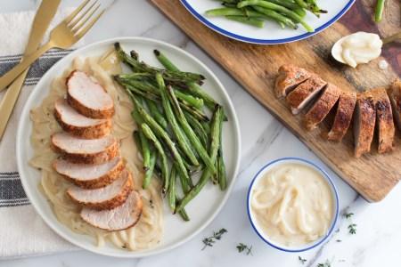 Smothered Pork Tenderloin with Blistered Green Beans