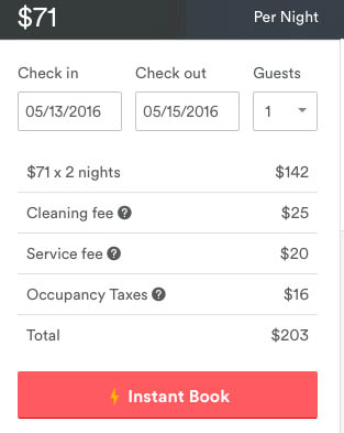 Airbnb cost
