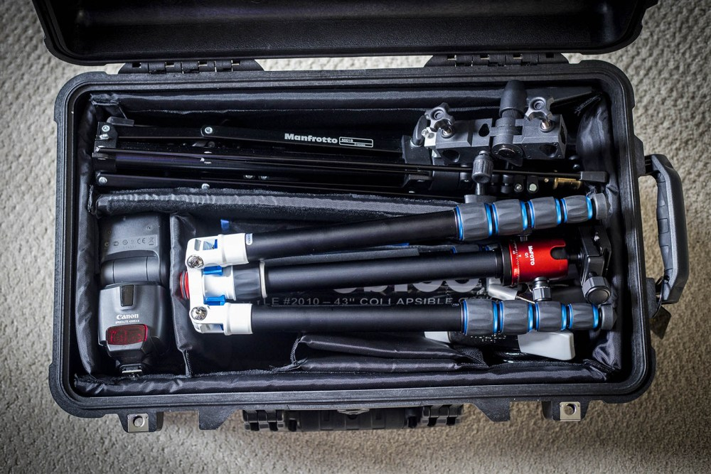 Most of my lighting kit fits into the carry-on friendly Pelican 1510 case.