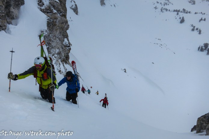 climbing an unnamed couloir
