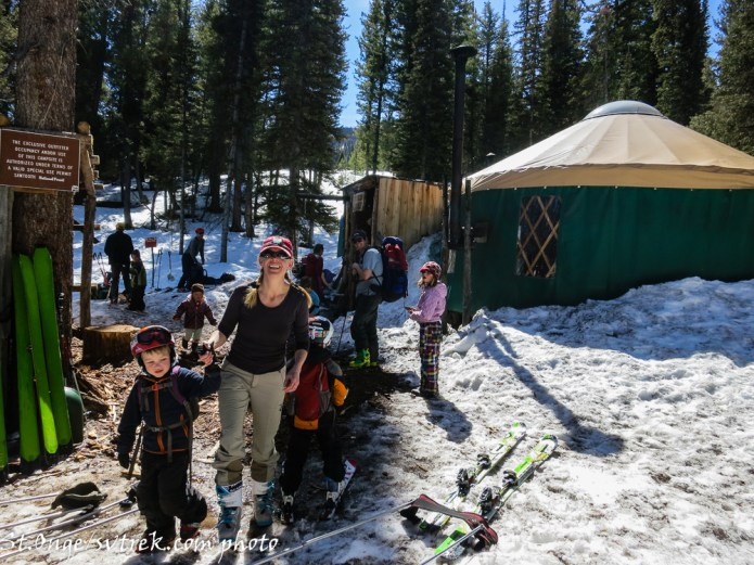 as one family leaves another arrives, Spring Break at Boulder Yurts