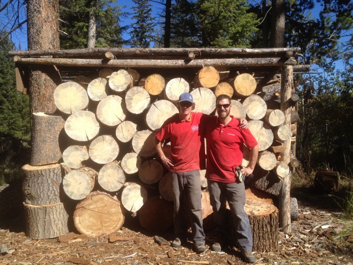 SVT guides, JP and Toby, proud of the tight stack at Boulder Yurts