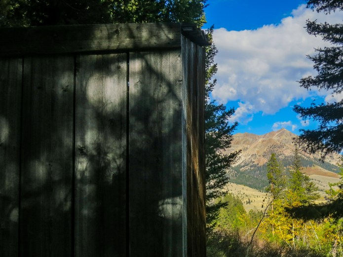 The newly relocated Boulder outhouse: with a view of Boulder Peak