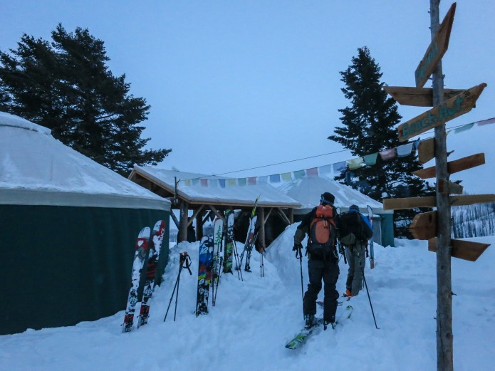 Arriving at the yurts right before dark after 5000' of pure powder