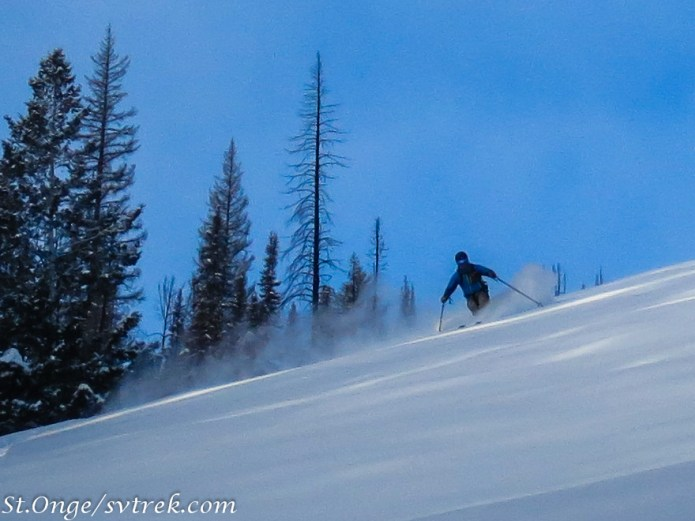 Cold smoke dropping in front of Coyote Yurts