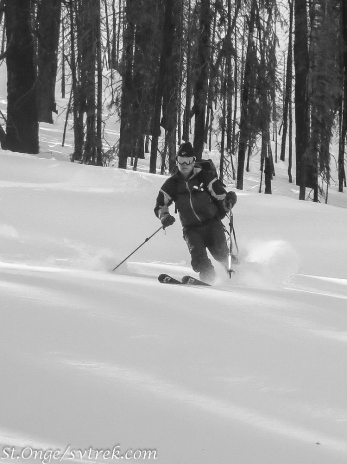 It can be a world of black and white contrast when skiing the burns