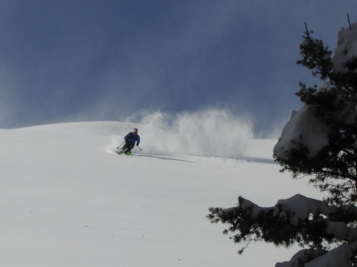 SVT guide, Joe St.Onge, testing the ski quality of the new storm snow
