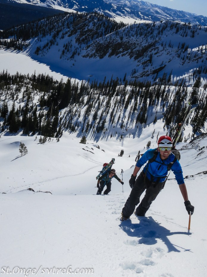 Climbing mid way on the Hunk, a classic spring steep corn descent above Bench hut