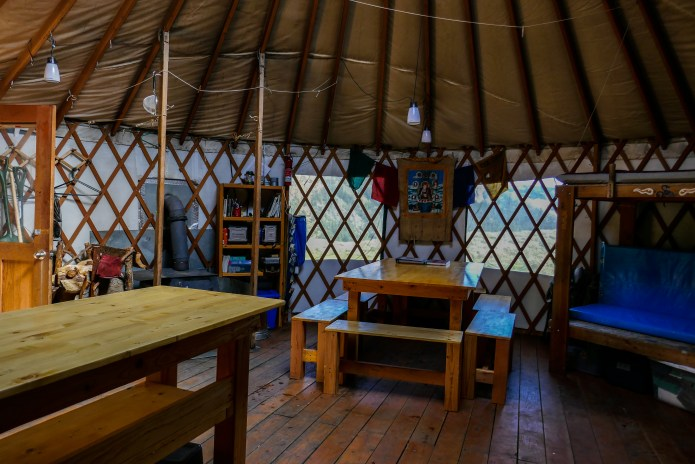The new tables and benches look great in the yurt