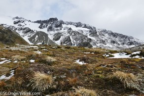 On the approach to the Marshal Glacier, hiking through alpine tundra