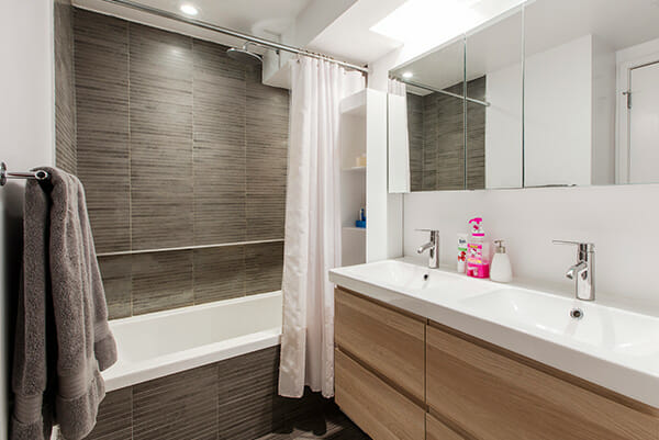 Quick Look WoodFinished Vanity and Gray Pencil Tile in a