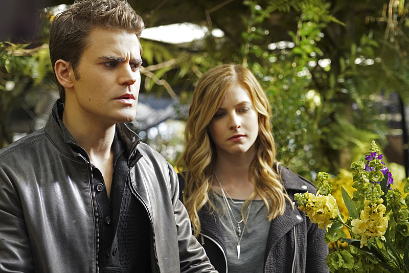 """The Vampire Diaries -- """"I Would For You"""" -- Image Number: VD715a_0041.jpg -- Pictured (L-R): Paul Wesley as Stefan and Elizabeth Blackmore as Valerie -- Photo: Annette Brown/The CW -- ©2016 The CW Network, LLC. All rights reserved."""